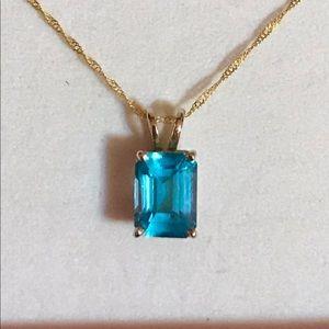 Jewelry - 14k Swiss blue topaz emerald cut necklace